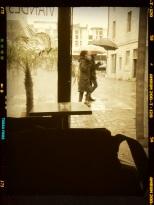 il fait sombre, le palmier est dehors et les passants sous les parapluies