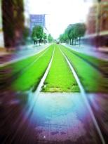 perspective rail tram
