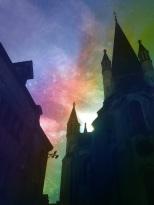 Notre Dame silhoouette soleil couchant